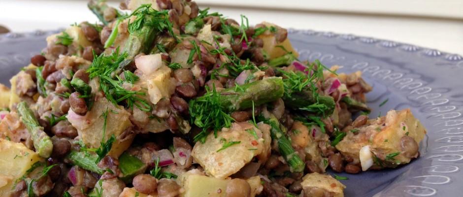 Lentils, Asparagus & Roasted Potatoes in Dijon Sauce