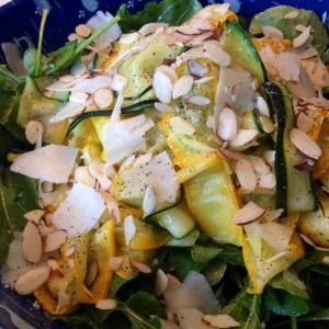 Shaved Summer Squash with Arugula, Pecorino and Almonds