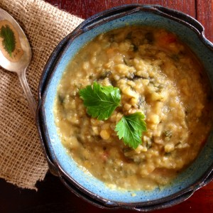 Yellow Split Pea Soup With Chard and Dill
