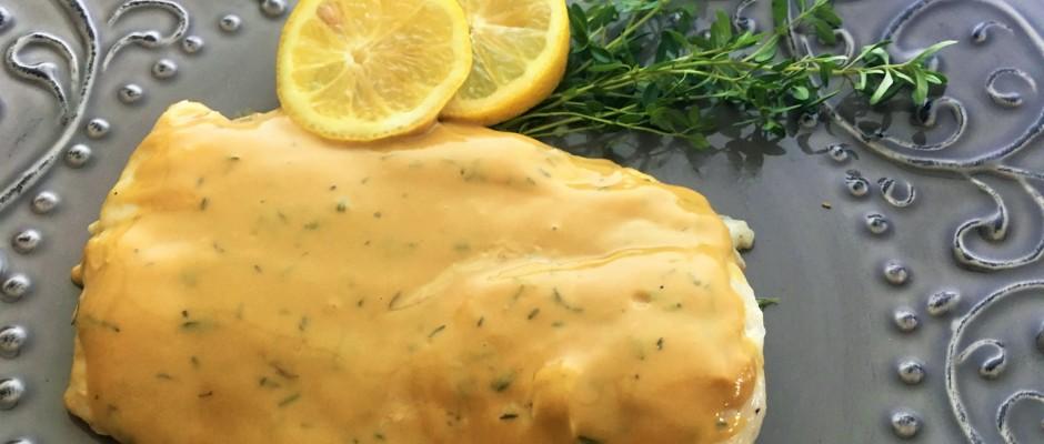 Flounder  with a Dijon Thyme Sauce
