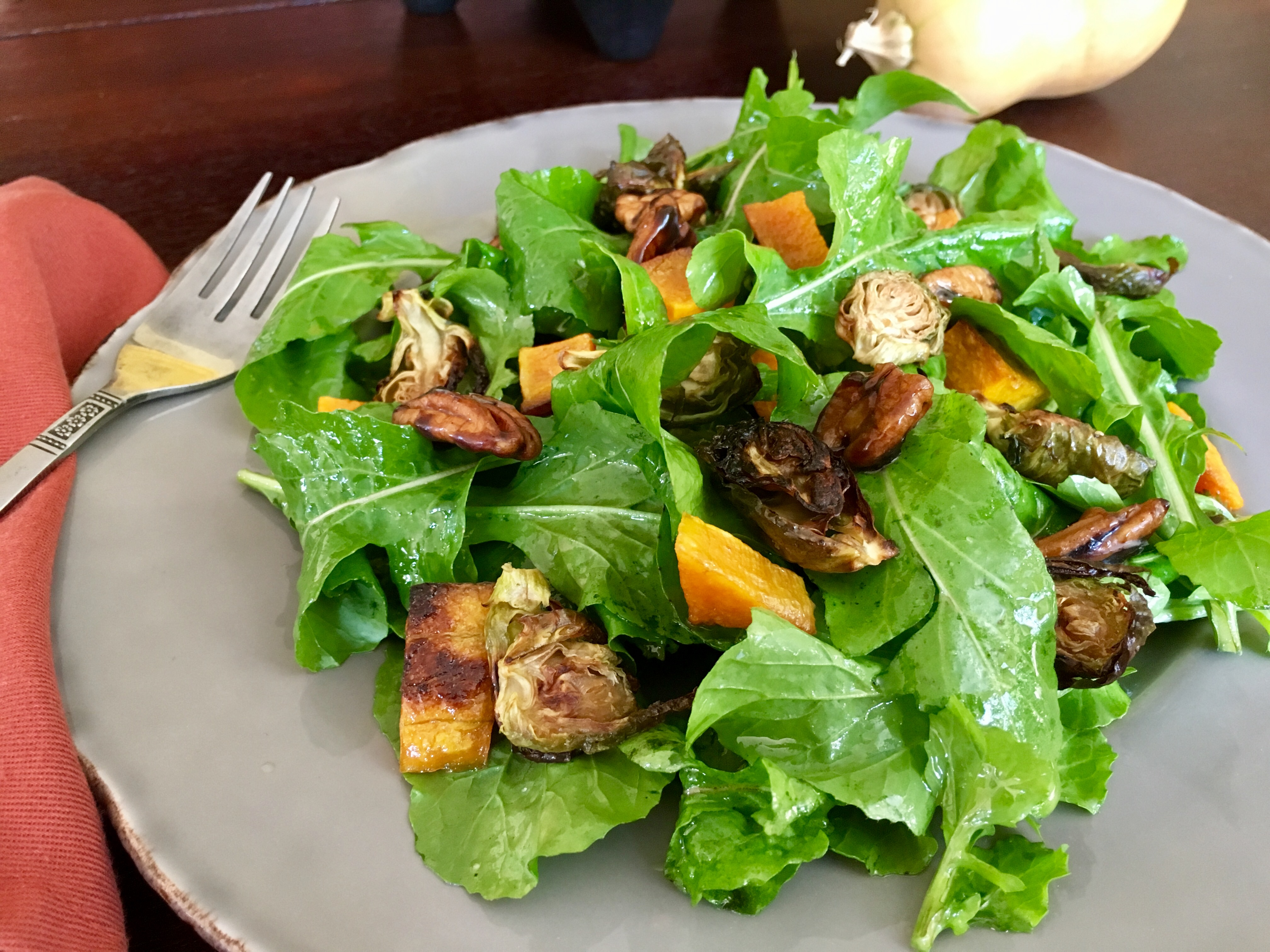 Arugula, Roasted Brussels Sprouts, Butternut Squash & Candied Pecans