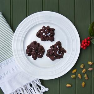 Dark Chocolate Pistachio Clusters with Flaked Sea Salt