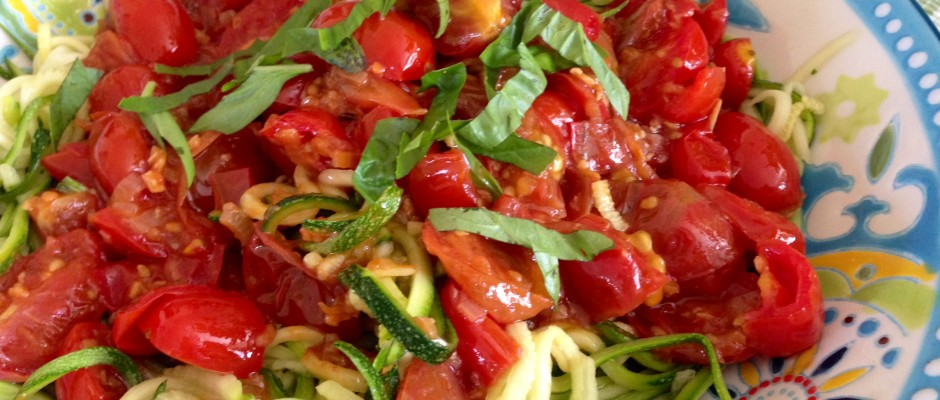 Zucchini Noodles with Tomato & Shallot Sauce