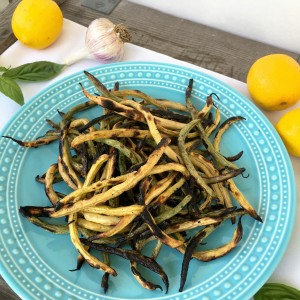Grilled Greens Beans with Basil Lemon Dressing