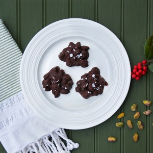 Dark Chocolate Pistachio Clusters with Flaked Sea Salt